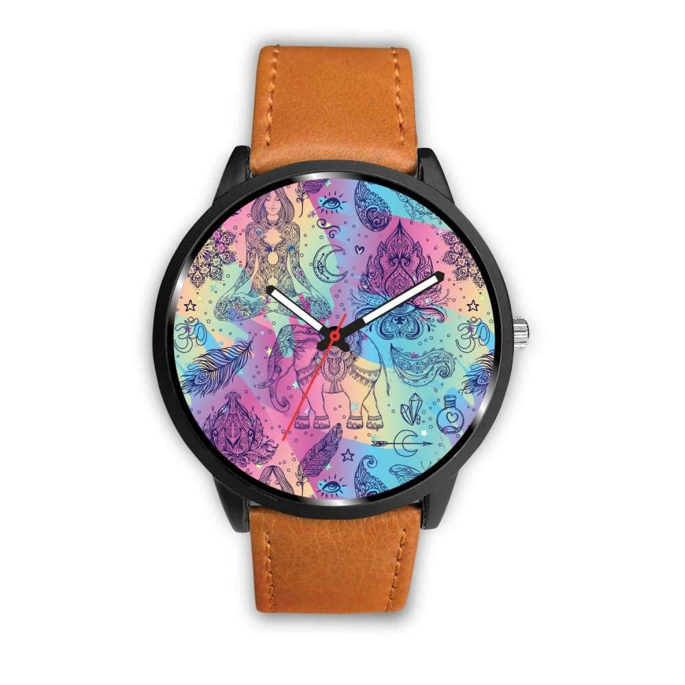 Colorful Yoga Buddhist Style Pattern. Om Spiritual Meditation Design Custom-Designed Wrist Watch - Mens 40Mm / Brown - Watch