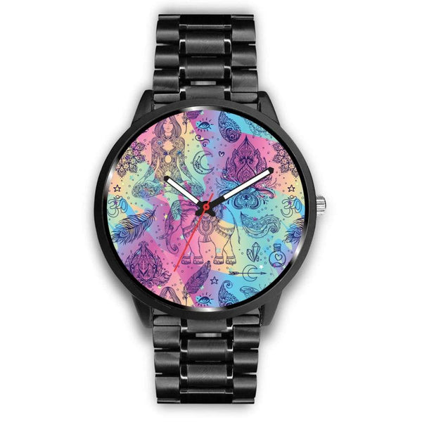 Colorful Yoga Buddhist Style Pattern. Om Spiritual Meditation Design Custom-Designed Wrist Watch - Mens 40Mm / Metal Link - Watch