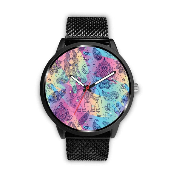 Colorful Yoga Buddhist Style Pattern. Om Spiritual Meditation Design Custom-Designed Wrist Watch - Mens 40Mm / Metal Mesh - Watch