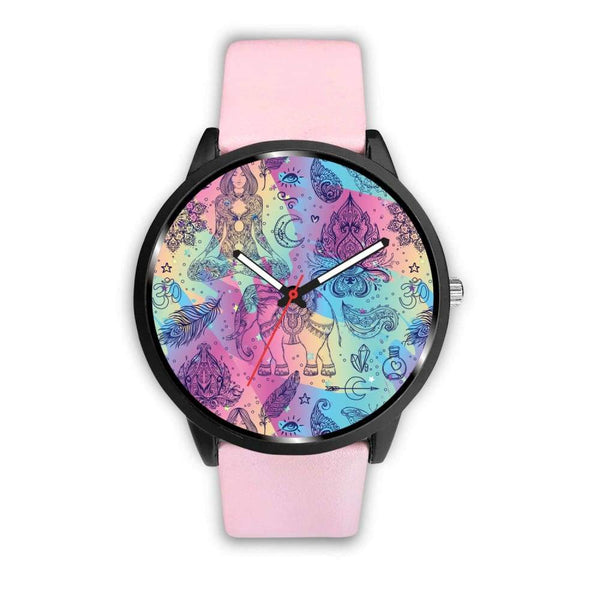 Colorful Yoga Buddhist Style Pattern. Om Spiritual Meditation Design Custom-Designed Wrist Watch - Mens 40Mm / Pink - Watch