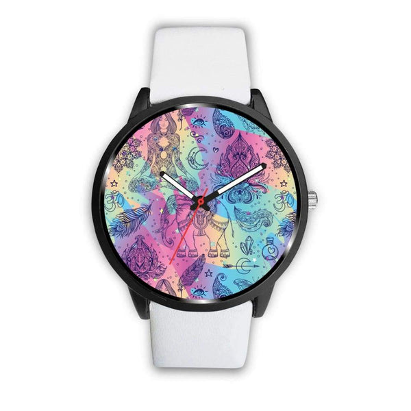 Colorful Yoga Buddhist Style Pattern. Om Spiritual Meditation Design Custom-Designed Wrist Watch - Mens 40Mm / White - Watch