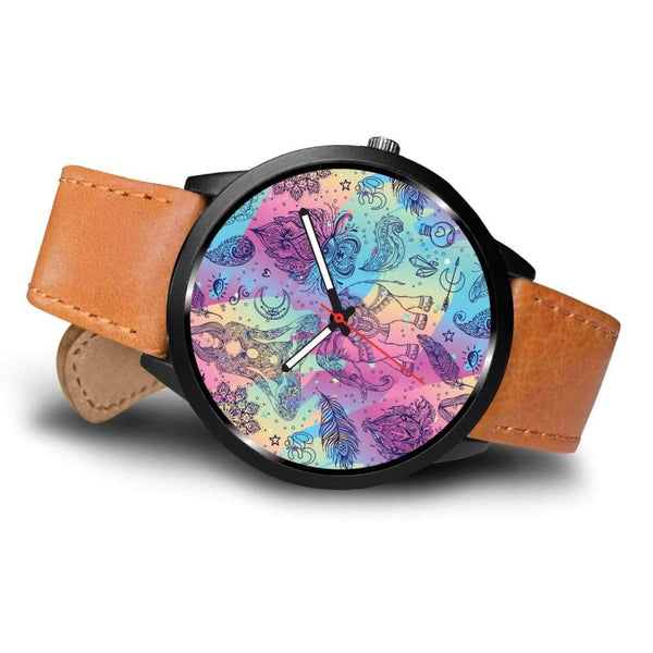 Colorful Yoga Buddhist Style Pattern. Om Spiritual Meditation Design Custom-Designed Wrist Watch - Watch