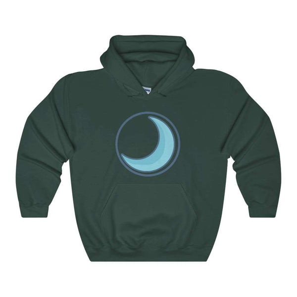 Crescent Moon Wiccan Pagan Symbol Unisex Heavy Blend Hooded Sweatshirt - Forest Green / S - Hoodie