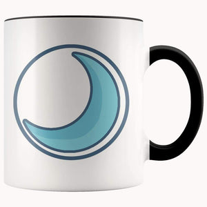 Crescent Moon Wiccan Spiritual Symbol 11Oz. Ceramic White Mug - Black - Drinkware