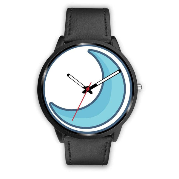 Crescent Moon Wiccan Symbol Custom-Designed Wrist Watch - Mens 40Mm / Black Leather - Black Watch