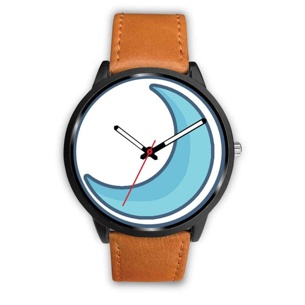 Crescent Moon Wiccan Symbol Custom-Designed Wrist Watch - Mens 40Mm / Brown Leather - Black Watch