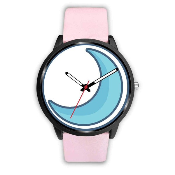 Crescent Moon Wiccan Symbol Custom-Designed Wrist Watch - Mens 40Mm / Pink Leather - Black Watch