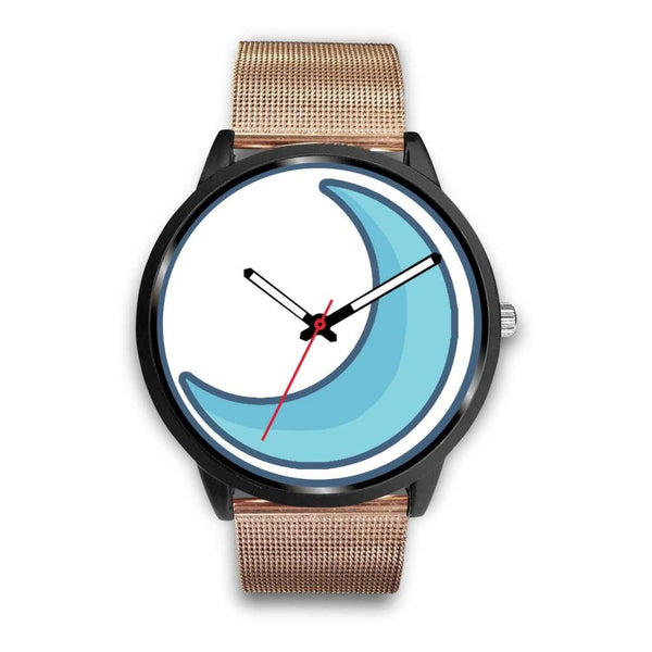 Crescent Moon Wiccan Symbol Custom-Designed Wrist Watch - Mens 40Mm / Rose Gold Metal Mesh - Black Watch
