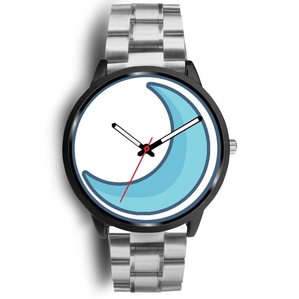 Crescent Moon Wiccan Symbol Custom-Designed Wrist Watch - Mens 40Mm / Silver Metal Link - Black Watch