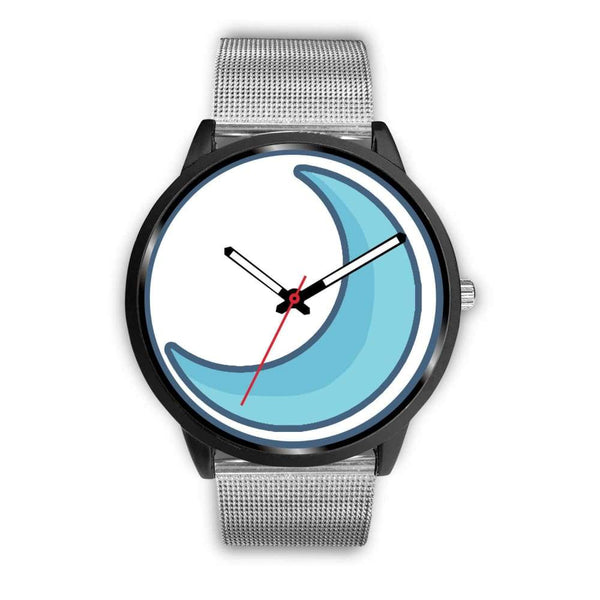 Crescent Moon Wiccan Symbol Custom-Designed Wrist Watch - Mens 40Mm / Silver Metal Mesh - Black Watch