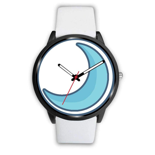Crescent Moon Wiccan Symbol Custom-Designed Wrist Watch - Mens 40Mm / White Leather - Black Watch