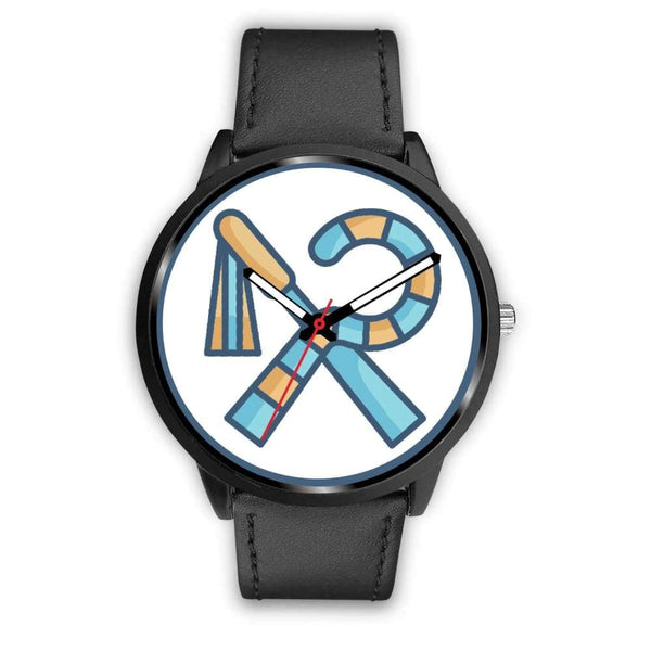 Crook And Flail Ancient Egyptian Symbol Custom-Designed Wrist Watch - Mens 40Mm / Black Leather - Black Watch