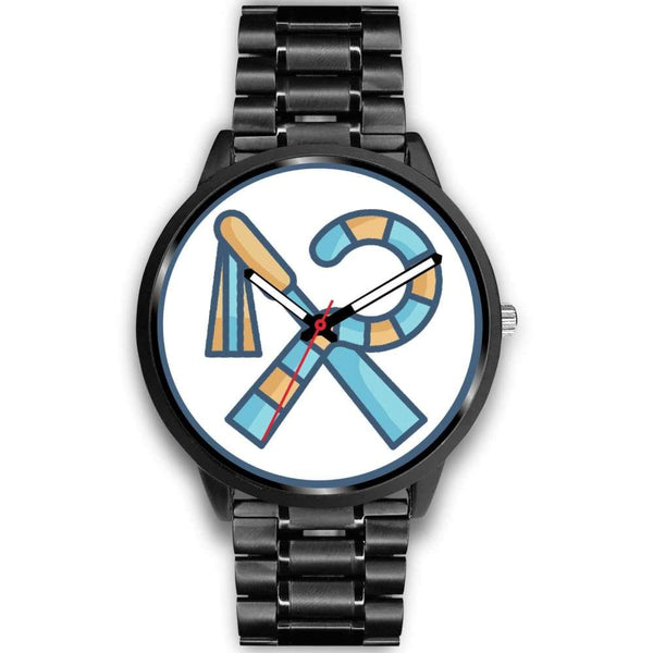 Crook And Flail Ancient Egyptian Symbol Custom-Designed Wrist Watch - Mens 40Mm / Black Metal Link - Black Watch