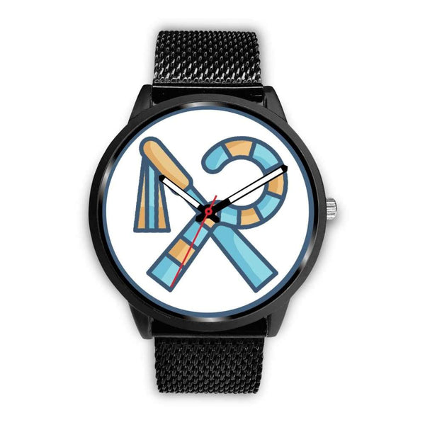 Crook And Flail Ancient Egyptian Symbol Custom-Designed Wrist Watch - Mens 40Mm / Black Metal Mesh - Black Watch
