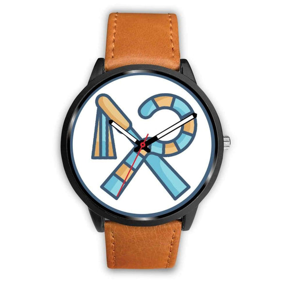 Crook And Flail Ancient Egyptian Symbol Custom-Designed Wrist Watch - Mens 40Mm / Brown Leather - Black Watch