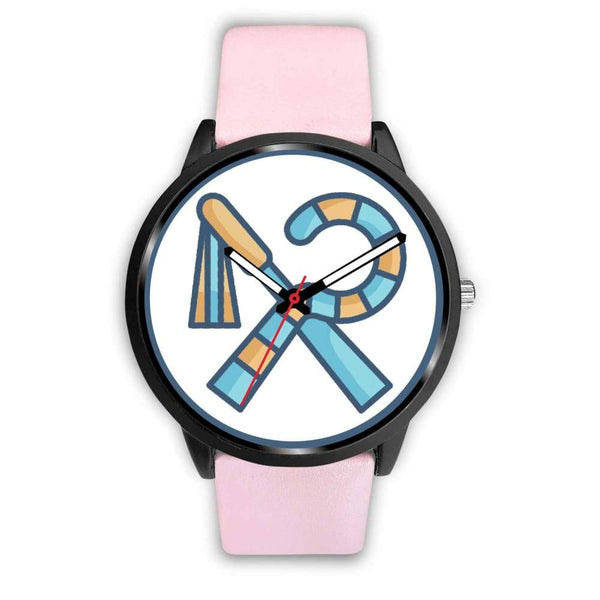 Crook And Flail Ancient Egyptian Symbol Custom-Designed Wrist Watch - Mens 40Mm / Pink Leather - Black Watch