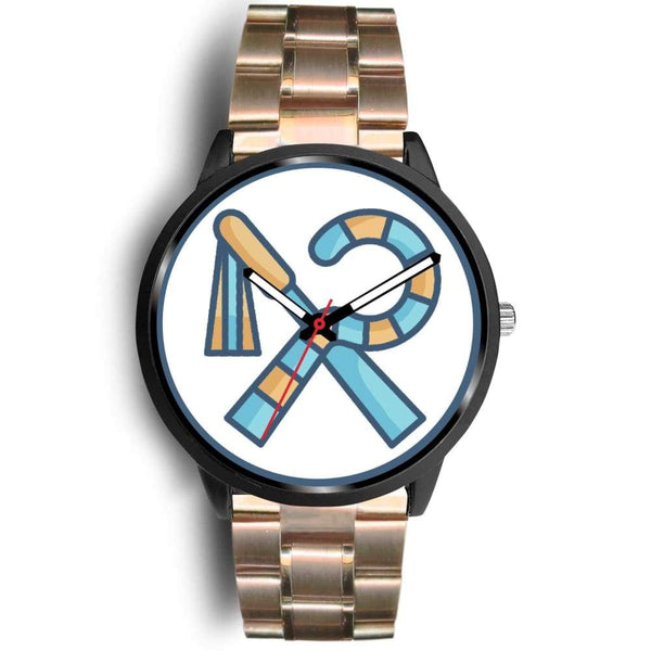 Crook And Flail Ancient Egyptian Symbol Custom-Designed Wrist Watch - Mens 40Mm / Rose Gold Metal Link - Black Watch