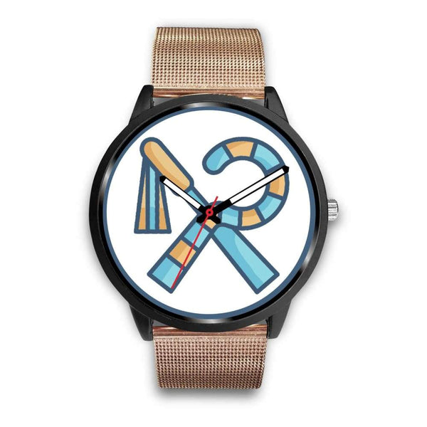 Crook And Flail Ancient Egyptian Symbol Custom-Designed Wrist Watch - Mens 40Mm / Rose Gold Metal Mesh - Black Watch
