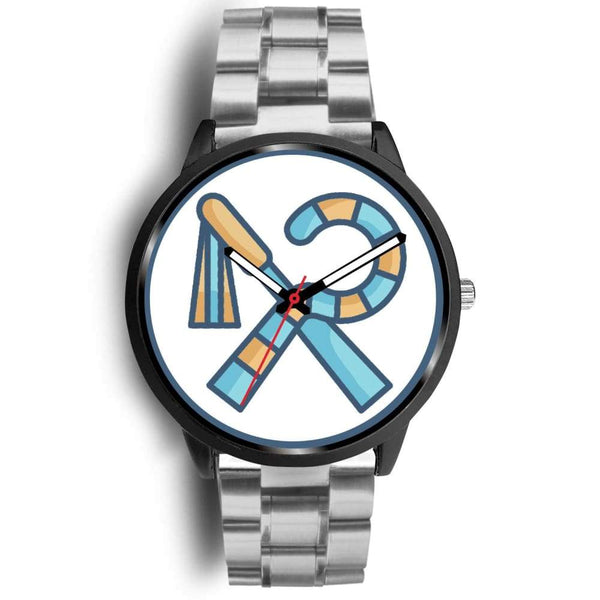 Crook And Flail Ancient Egyptian Symbol Custom-Designed Wrist Watch - Mens 40Mm / Silver Metal Link - Black Watch