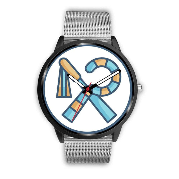 Crook And Flail Ancient Egyptian Symbol Custom-Designed Wrist Watch - Mens 40Mm / Silver Metal Mesh - Black Watch