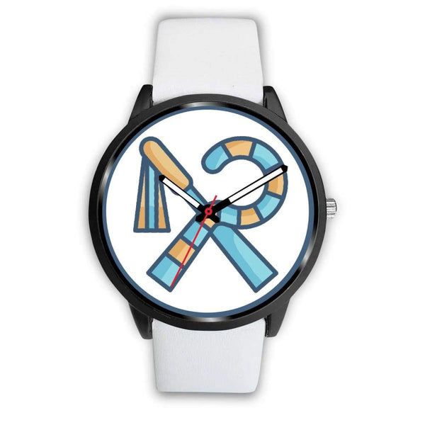 Crook And Flail Ancient Egyptian Symbol Custom-Designed Wrist Watch - Mens 40Mm / White Leather - Black Watch