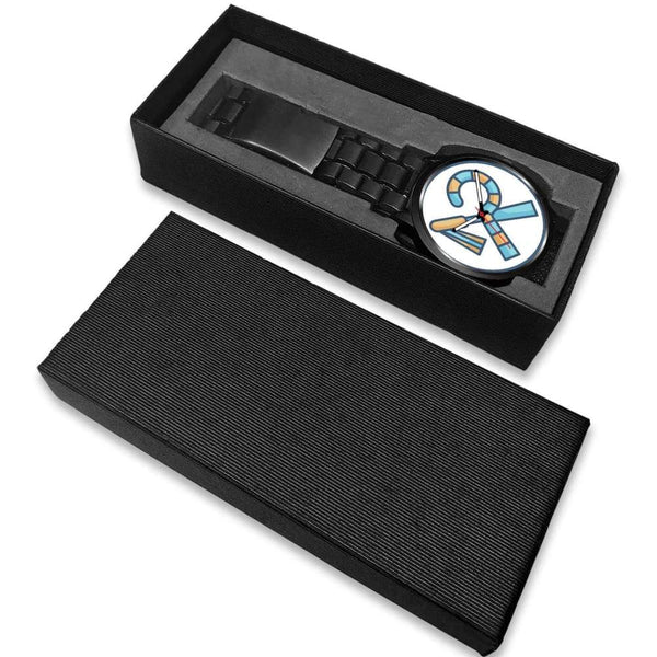 Crook And Flail Ancient Egyptian Symbol Custom-Designed Wrist Watch - Black Watch