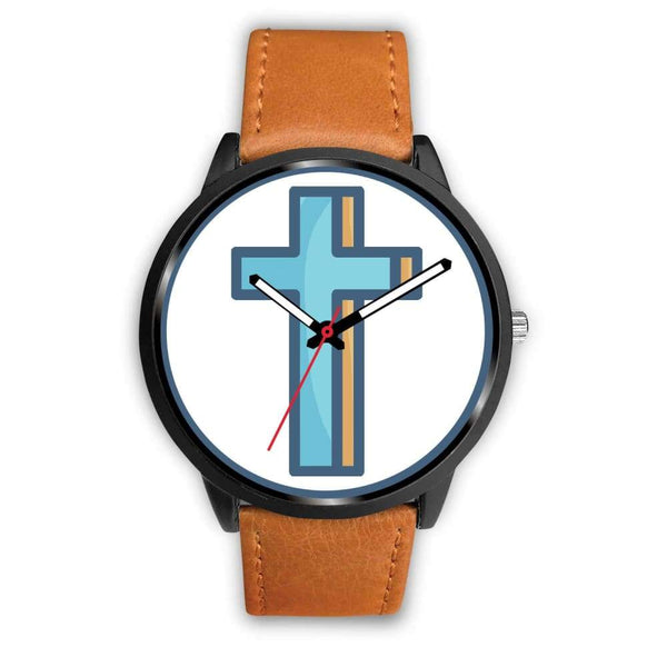 Crucifix Cross Christian Symbol Custom-Designed Wrist Watch - Mens 40Mm / Brown Leather - Black Watch