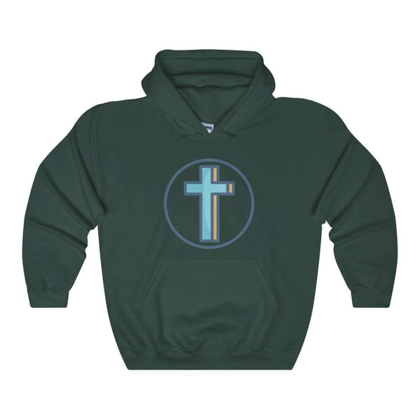 Crucifix Cross Christian Symbol Unisex Heavy Blend Hooded Sweatshirt - Forest Green / S - Hoodie