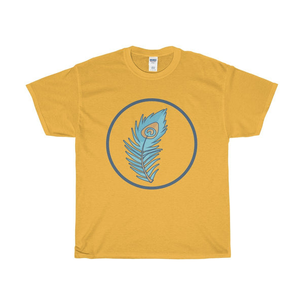 Unisex Heavy Cotton Tee, Spiritual Peacock Feather Symbol T-shirt