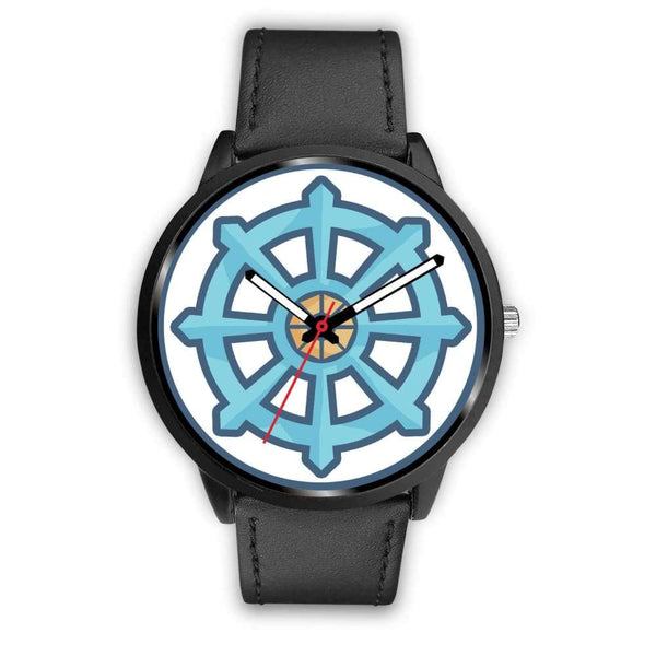 Dharma Wheel Buddhist Symbol Custom-Designed Wrist Watch - Mens 40Mm / Black Leather - Black Watch