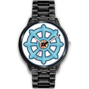 Dharma Wheel Buddhist Symbol Custom-Designed Wrist Watch - Mens 40Mm / Black Metal Link - Black Watch