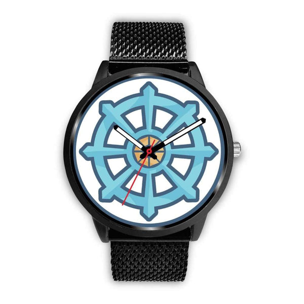 Dharma Wheel Buddhist Symbol Custom-Designed Wrist Watch - Mens 40Mm / Black Metal Mesh - Black Watch