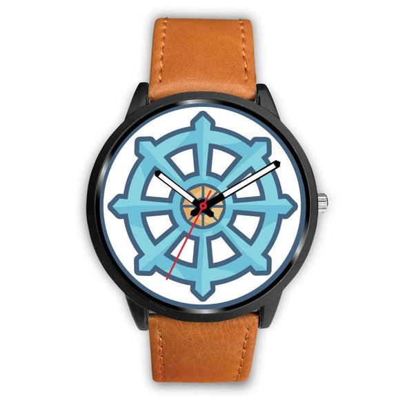 Dharma Wheel Buddhist Symbol Custom-Designed Wrist Watch - Mens 40Mm / Brown Leather - Black Watch