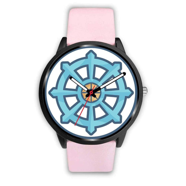 Dharma Wheel Buddhist Symbol Custom-Designed Wrist Watch - Mens 40Mm / Pink Leather - Black Watch