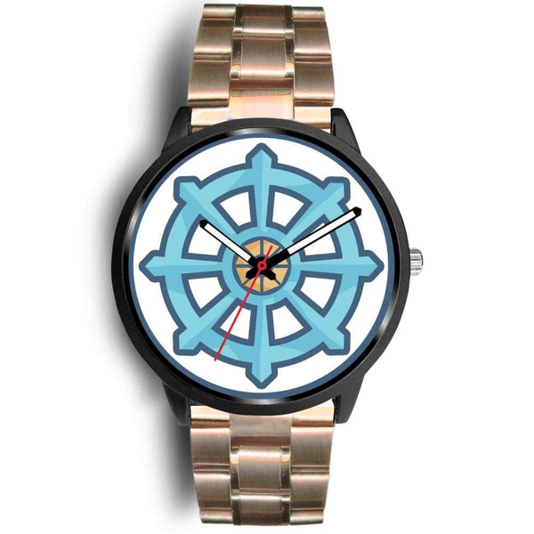Dharma Wheel Buddhist Symbol Custom-Designed Wrist Watch - Mens 40Mm / Rose Gold Metal Mesh - Black Watch