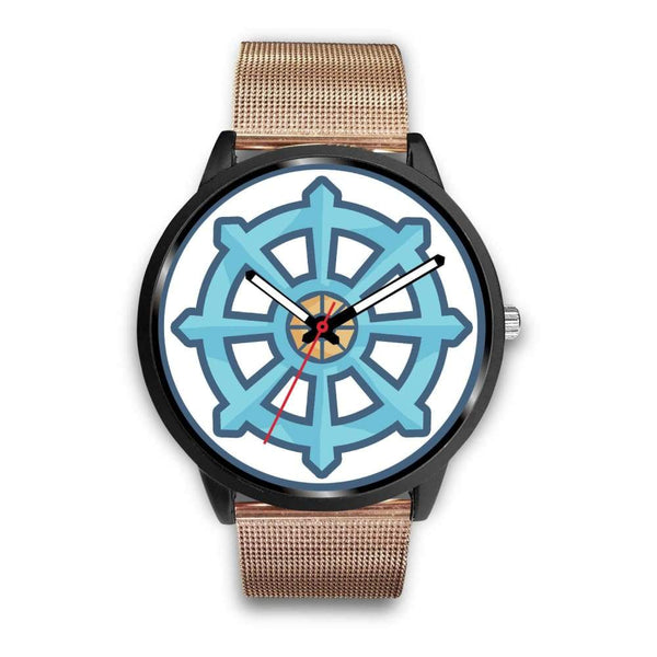 Dharma Wheel Buddhist Symbol Custom-Designed Wrist Watch - Mens 40Mm / Silver Metal Link - Black Watch