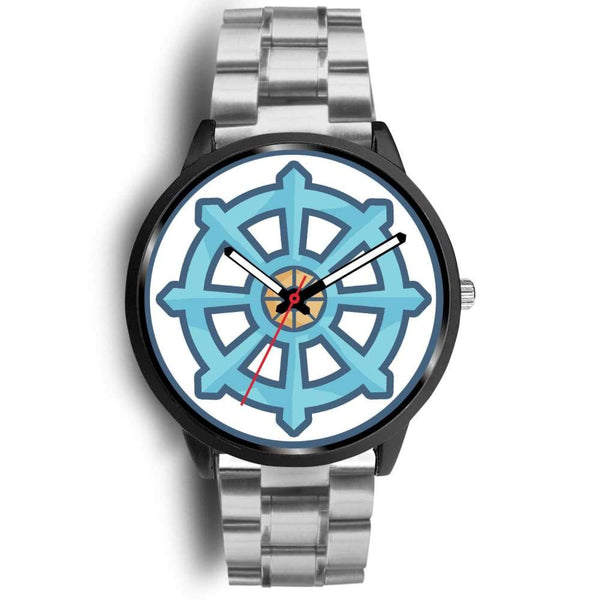 Dharma Wheel Buddhist Symbol Custom-Designed Wrist Watch - Mens 40Mm / Silver Metal Mesh - Black Watch