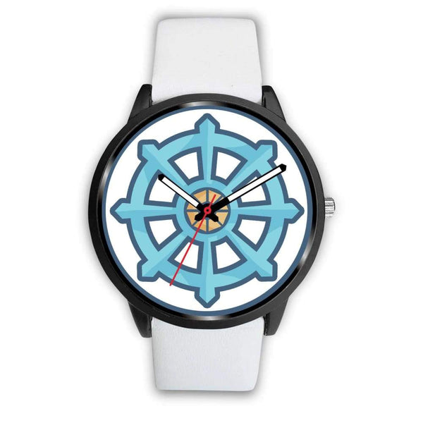 Dharma Wheel Buddhist Symbol Custom-Designed Wrist Watch - Mens 40Mm / White Leather - Black Watch