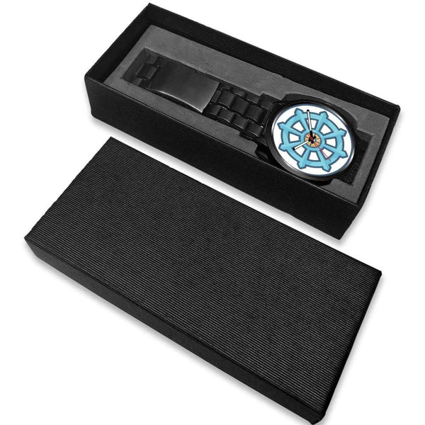 Dharma Wheel Buddhist Symbol Custom-Designed Wrist Watch - Black Watch