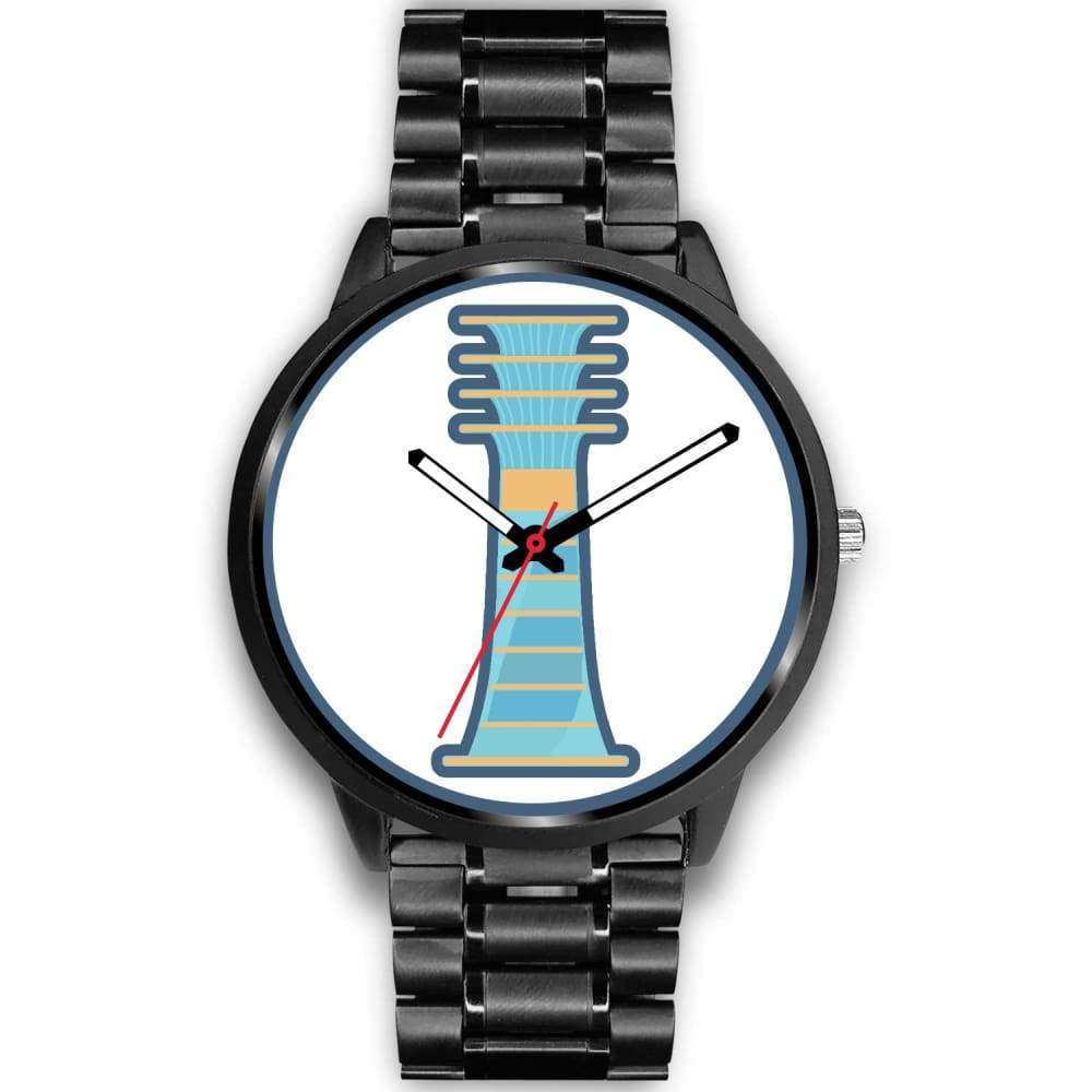 Djed Pillar Ancient Egyptian Symbol Custom-Designed Wrist Watch - Mens 40Mm / Black Metal Link - Black Watch