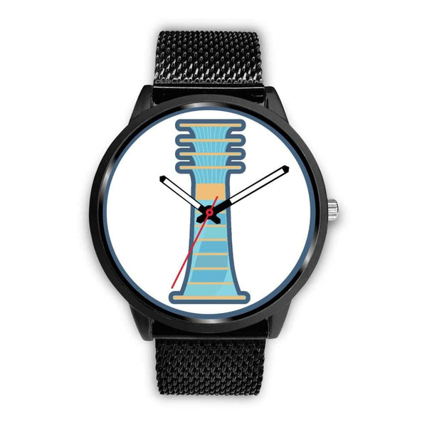 Djed Pillar Ancient Egyptian Symbol Custom-Designed Wrist Watch - Mens 40Mm / Black Metal Mesh - Black Watch