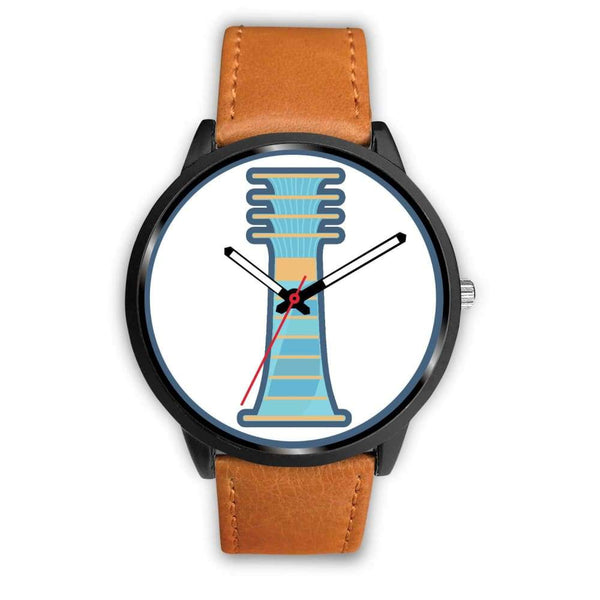 Djed Pillar Ancient Egyptian Symbol Custom-Designed Wrist Watch - Mens 40Mm / Brown Leather - Black Watch
