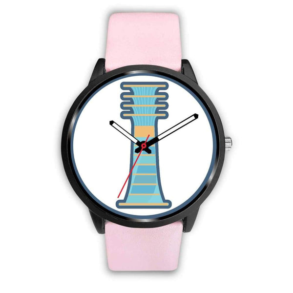 Djed Pillar Ancient Egyptian Symbol Custom-Designed Wrist Watch - Mens 40Mm / Pink Leather - Black Watch
