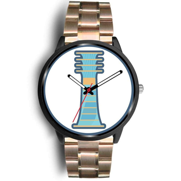 Djed Pillar Ancient Egyptian Symbol Custom-Designed Wrist Watch - Mens 40Mm / Rose Gold Metal Link - Black Watch