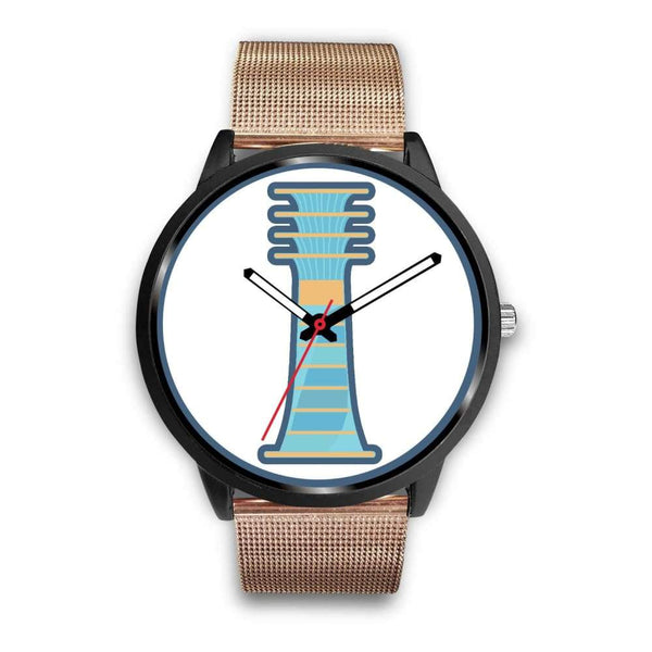 Djed Pillar Ancient Egyptian Symbol Custom-Designed Wrist Watch - Mens 40Mm / Rose Gold Metal Mesh - Black Watch