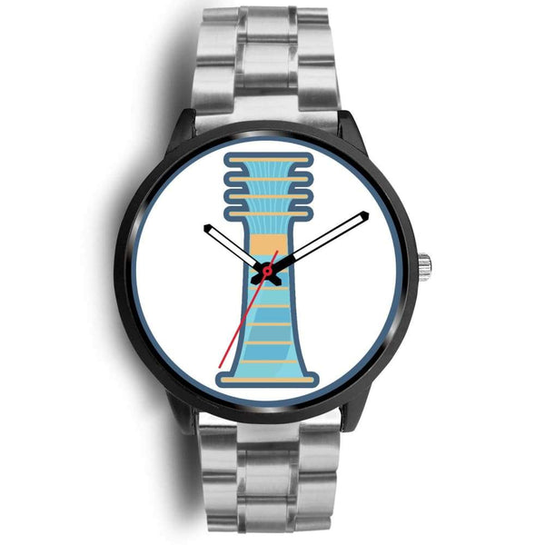 Djed Pillar Ancient Egyptian Symbol Custom-Designed Wrist Watch - Mens 40Mm / Silver Metal Link - Black Watch