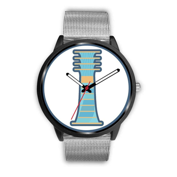 Djed Pillar Ancient Egyptian Symbol Custom-Designed Wrist Watch - Mens 40Mm / Silver Metal Mesh - Black Watch