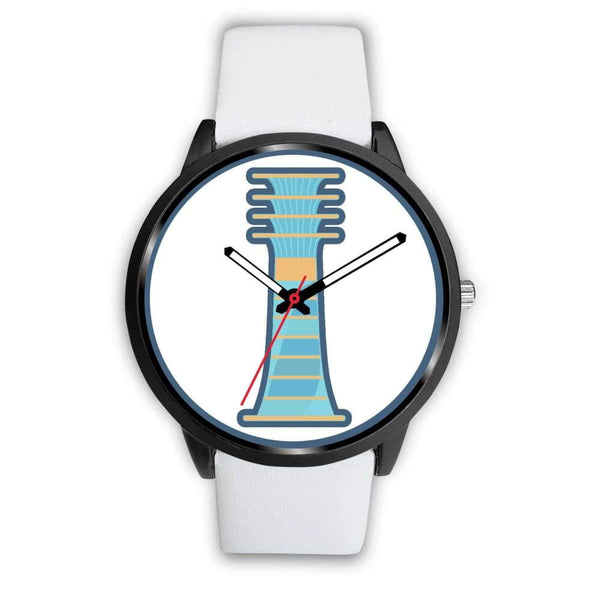 Djed Pillar Ancient Egyptian Symbol Custom-Designed Wrist Watch - Mens 40Mm / White Leather - Black Watch