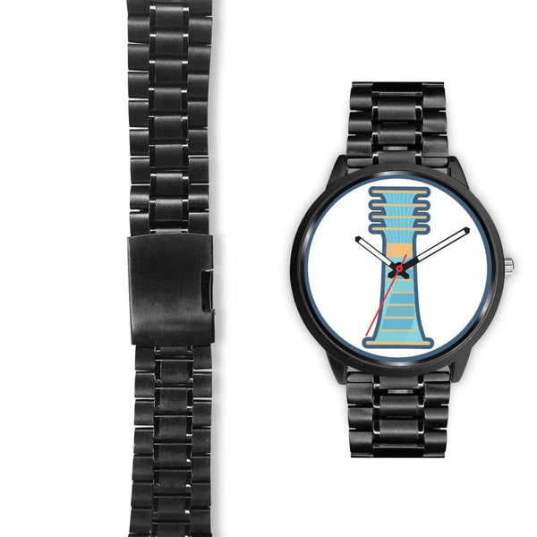 Djed Pillar Ancient Egyptian Symbol Custom-Designed Wrist Watch - Black Watch