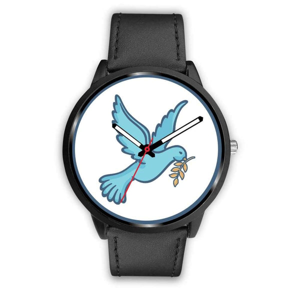 Dove Christian Peace Symbol Custom-Designed Wrist Watch - Mens 40Mm / Black Leather - Black Watch